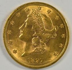 Great BU 1897 US $20 Liberty Gold Piece