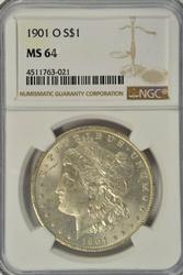 Great Near Gem BU 1901-O Morgan Silver Dollar. NGC MS64