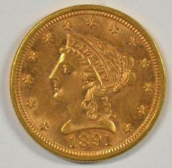 Very Scarce BU 1891 US $2.50 Liberty Gold Piece