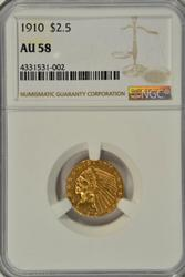 Very lovely 1910 $2.50 Indian Gold Piece. NGC AU58