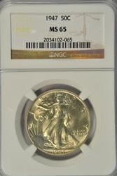 Great Gem BU 1947 Walking Liberty Half Dollar. NGC MS65