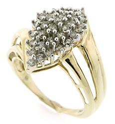 Diamond Cluster Bypass Style Ring in 10K