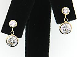 Dazzling Double CZ Dangle Earrings