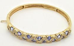 14kt Gold Tanzanite & Diamond Bangle Bracelet