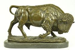 American Buffalo Bronze Sculpture on Marble Base Figurine