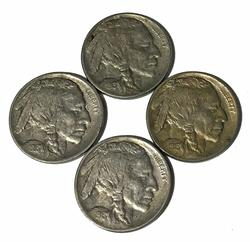 4 Choice Raised Mound Type 1 Buffalo Nickels