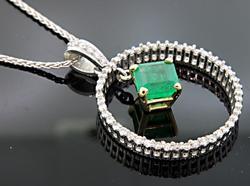 Emerald & Diamond 1+ctw Pendant in 14kt Gold