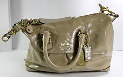 Coach Madison Beige Patent Leather Bag