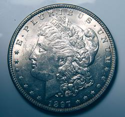 TOP100 VAM-1A 1897 AU/UNC Morgan Silver $, Pitted Rev.