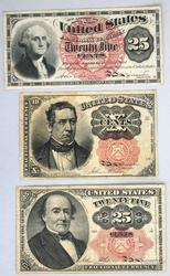 3 Pieces Fractional Currency
