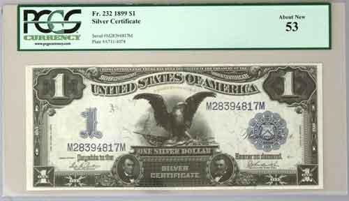 1899 $1 Black Eagle Silver Certificate in a PCGS AU 53 holder ...