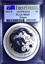 2012-P Australia Year of the Dragon First Strike $ MS69