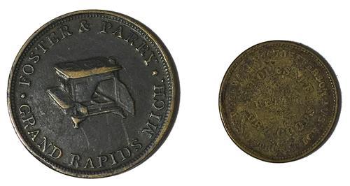 2 Michigan Civil War Storecard Tokens
