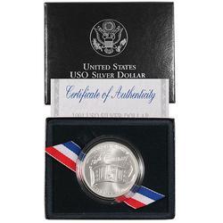 1991-D BU USO Commem Silver $, OGP