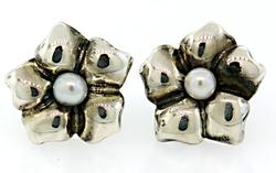 Tiffany & Co STerling Flower Earrings with Pearls
