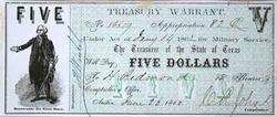1862 Choice Uncirculated $5 Texas treasury Warrant with Wash