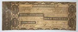 Early Bank of Windsor Vermont 1829 $5 obsolete
