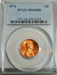 1974 Lincoln Cent in PCGS MS66RD