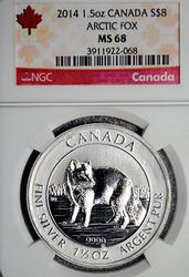 2014 $8, 1 1/2oz Silver Artic Wolf, Canada, NGC
