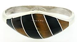 Sterling Silver Black Onyx &Tiger's Eye Inlay Bracelet
