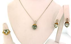 Green Quartz Set in Sterling Silver