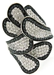 Black & White Diamond Feather Ring at 3.0 CTW
