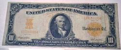 Scarcer First Series 1907 $10 Gold Certificate Large Size Note