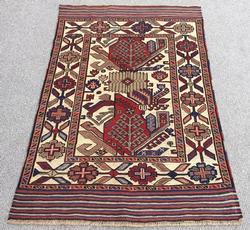 Very Rare 1950s Authentic Handmade Persian Baluchi Tribe's Sample Rug