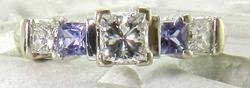 Beautiful Princess Cut Diamond & Sapphire 14K White Gold Ring
