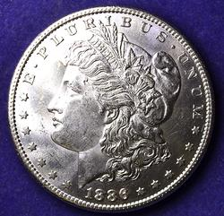 RARE EXCEPTIONAL GEM BU 1886-S MORGAN DOLLAR