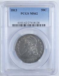 Highlight 1813 Capped Bust Half Dollar PCGS MS62