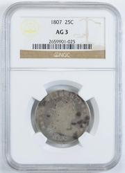 AG3 1807 Draped Bust Quarter - NGC Graded
