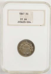 1867 Shield Nickel - NGC PF64, Pics dont do it justice