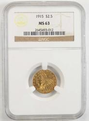 1915 $2.50 Indian Head Gold Quarter Eagle - NGC MS63
