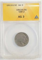 AG3 1913-S Buffalo Indian Nickel - Type 2 - ANACS Graded