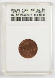 1972-D Jefferson Nickel Struck On 1C Planchet ANACS