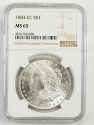 MS65 1883-CC Morgan Silver Dollar - NGC Graded