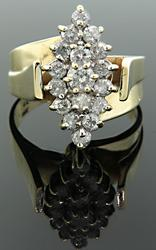 Marquise Shape Diamond Cluster Ring