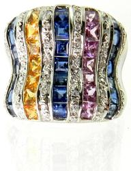 Eye-Catching 18K Ring with Yellow, Pink, & Blue Sapphires