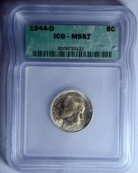 1944-D Silver Alloy Wartime nickel, ICG MS67