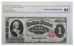 UNC 1891 $1.00 Martha Washington Silver Certificate CGA