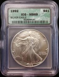 1992 Certified Silver Eagle ICG MS 69
