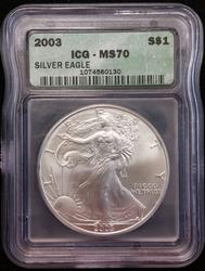 2003 Certified Silver Eagle ICG MS 70
