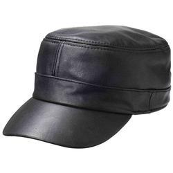 Unisex Black Leather Motorcycle Hat