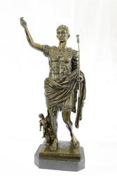 Julius Caesar Bronze Sculpture on Marble Base Figurine