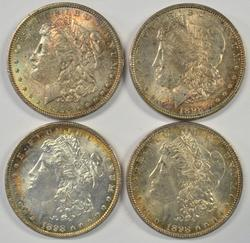 4 Rainbow Toned Choice BU 1898 Morgan Silver Dollars