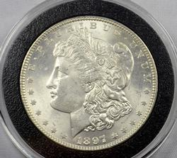 Top 100 VAM-6A 1897 Morgan Dollar in Brilliant Unc