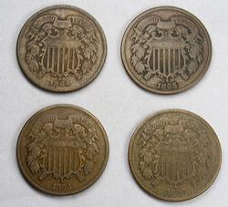 4 Different Date 2 Cent Pieces, 1864, 65, 66, 68