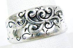 Scrolly Sterling Silver Cigar Band Ring