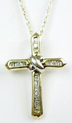 Vintage 10K Diamond Cross & Chain